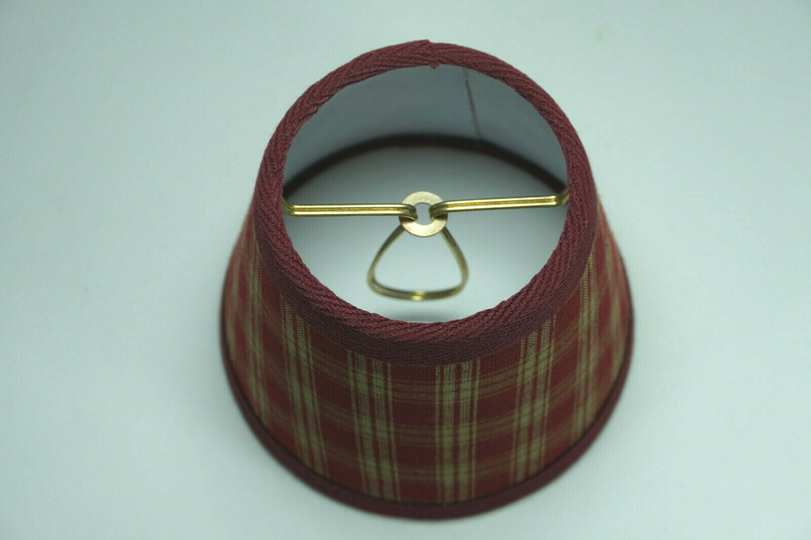 Country Burgundy Sturbridge Plaid Fabric Chandelier Candle Lampshade Lamp Shade