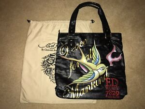 c3b64407014b Ed Hardy Large Travel Gym Tote Bag Purse Peace For All Mankind Black ...