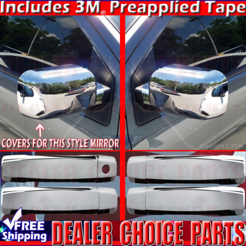 Mirror COVERS Overlays Trim For 2004-2012 TITAN 4Dr Chrome Door Handle W//O PSK