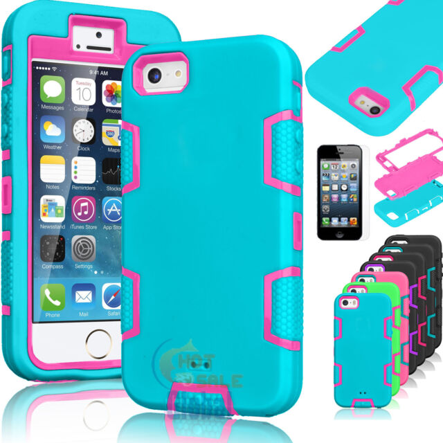 Shockproof Hybrid Rubber Hard Cover Case For Apple iPhone 6 6s w/ Screen Protect