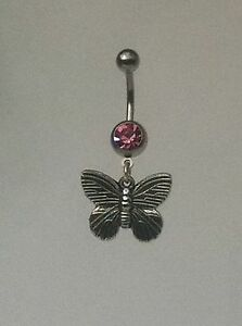 BUTTERFLY-Belly-Bar-dangle-Choice-of-colour-UK-made-FREE-POST