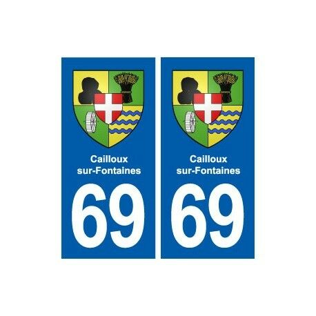 69 Cailloux-sur-Fontaines blason autocollant plaque stickers ville arrondis