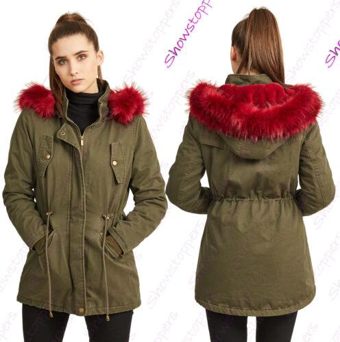 NUOVA linea donna oversize cappuccio rosso pelliccia Cappotto Parka Donna Khaki Giacca Taglia 8 a 16