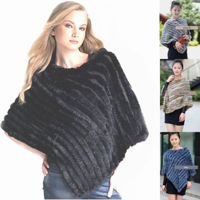 New Women's Real Rabbit Fur Wrap Shawl Scarf Cape Poncho Scarf *Many Color