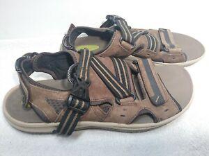 Clarks-Wave-Walk-Mens-Brown-Leather-Strap-Sandals-Size-10M