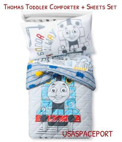 4pcs THOMAS Train Toddler Bed-in-a-Bag COMFORTER+SHEETS Set Boys//Girls Room Crib