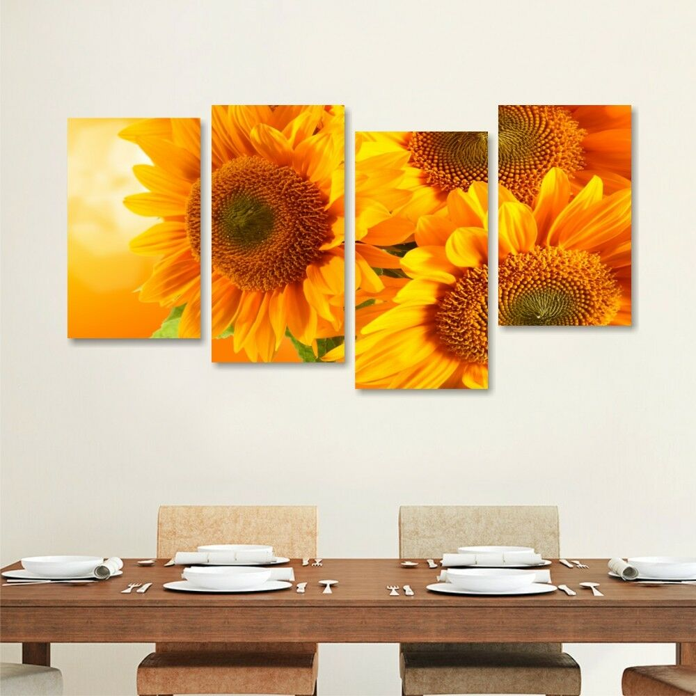 Girasoli 4 - - - Quadro su tela 152x78 stampa fiori arancioni salotto cucina rustica d374a4