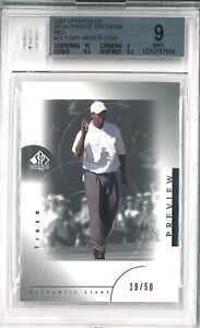 2001 Tiger Woods BGS 9 Mint UD Golf Rookie RC RED SP Authentic Previews /50