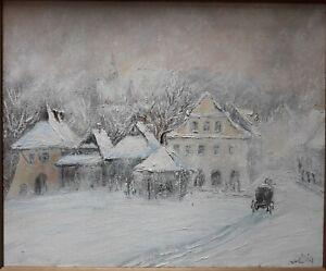 VINTAGE-POLISH-POLAND-WINTER-IMPRESSIONIST-SNOWSCAPE-OIL-CANVAS-034-SNOWSTORM-034