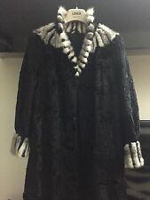 Super Black persian lambskin lamb fur coat White MINK fur collar astrakhan S