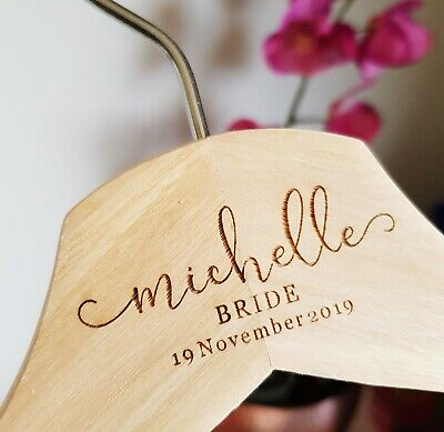 3 Personalized Wooden Wedding HangersBridesmaid Hangers Choice of Font /& Color
