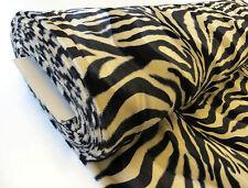 by METRE Beige Brown Tan ZEBRA animal print short pile luxury VELBOA faux fur