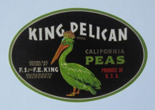 King Pelican Peas Crate Label King Co Sacramento CA
