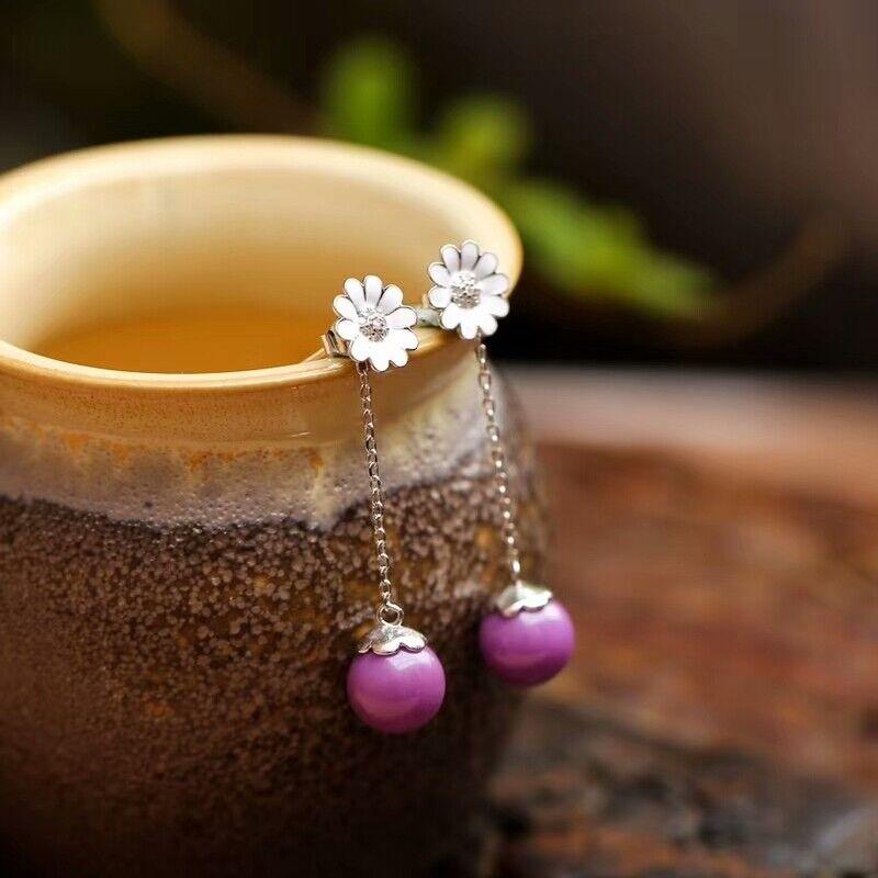 Genuine Natural Sugilite Purple South Africa Fashion Gems Earrings 10mm AAA