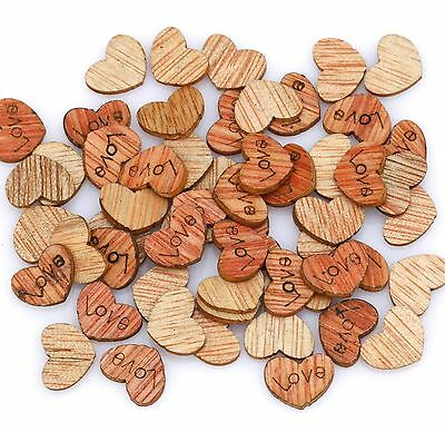 200 Pcs Love Heart Carve Wood Flatback Appointment Wedding Decorations 12mm
