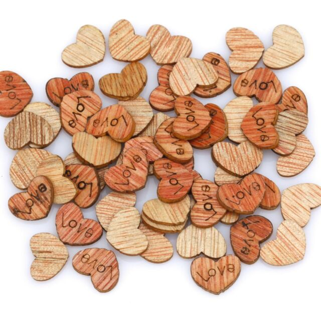 Wholesale 200 Pcs Love Heart Wood Flatback Appointment Wedding Decorations 12mm