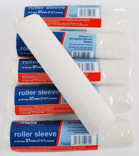 """HL52062L 9/"""" 6 x Halls 225mm Simulated Mohair Gloss Paint Roller Sleeves"""