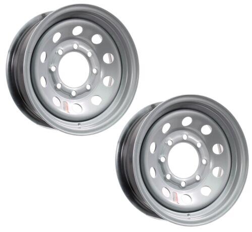 2-Pk Trailer Rim Wheels 16x6 16 x 6 HD Modular 8 Bolt Hole 6.5 On Silver