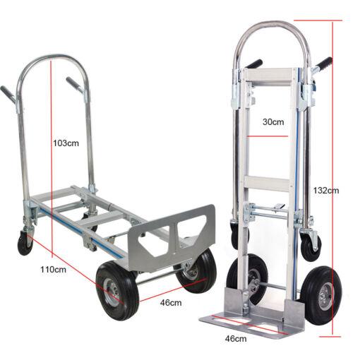 Aluminum Folding Hand Truck 2 In 1 Convertible 770LBS Capacity Industrial Cart