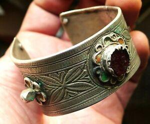Bracelet Argent Ancien Email Bijou Maroc Antique Moroccan Berber Silver Bangle