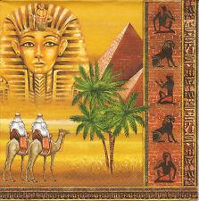 4 Single Paper Napkins for Decoupage Egypt Camel Pyramid Palm
