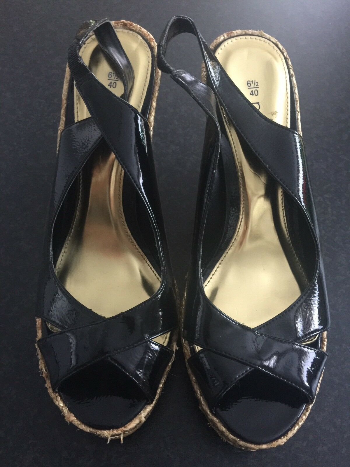 Next Wedge Black Patent With Gold Wedge Next Size 6.5 / 40 138eca