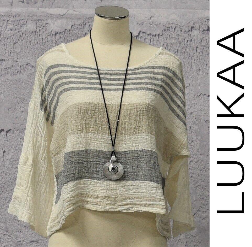 LUUKAA Linen 8Y0145  Lagenlook  CAMBRI CROP TOP  (Größes 6-20) 2018 Weiß STRIPE