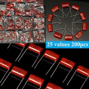 200Pcs 25 Values 0.001uf~2.2uf 630V CBB Metal Film Capacitors Assortment Kit Set
