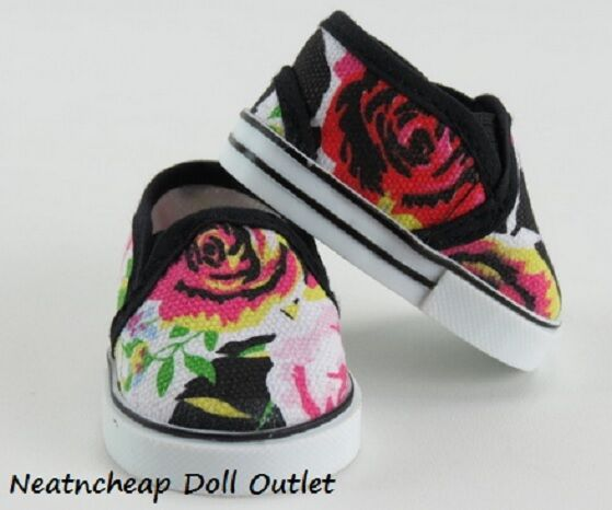 """Floral Flower Pink Black Flats Slip-on Shoes Fits 18"""" American Girl Doll Clothes"""