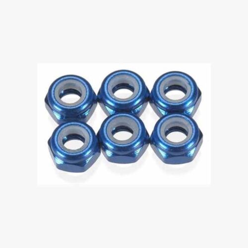 Team Associated B5M Factory Lite 31550 FT M3 Locknut, blue aluminum