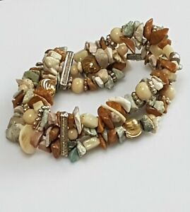 Handmade-beautiful-sandstone-colour-chipped-stone-bracelet-with-3-strands-tied
