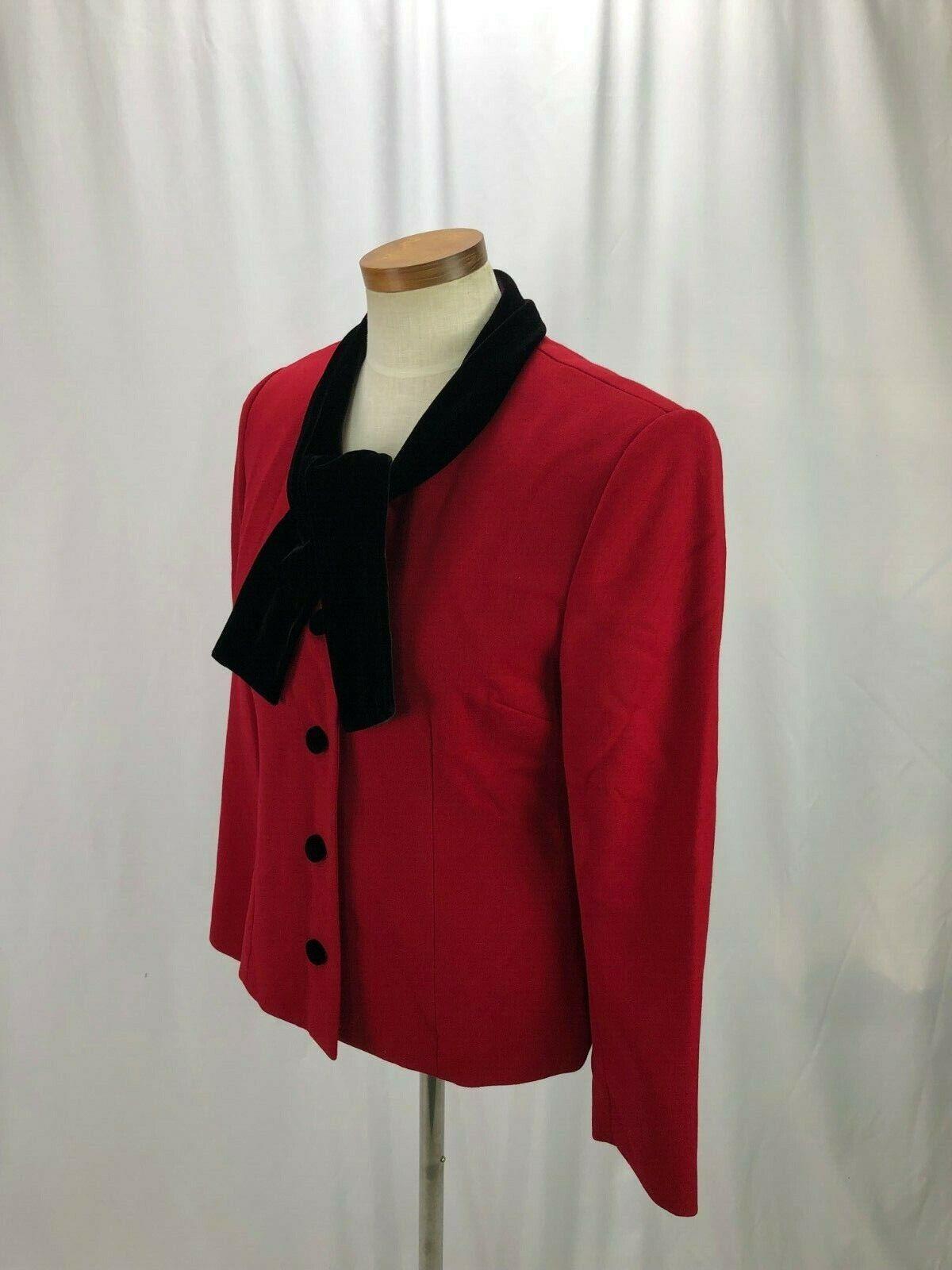 Talbots Women's Red Wool Blazer Velvet Collar 6 - image 3