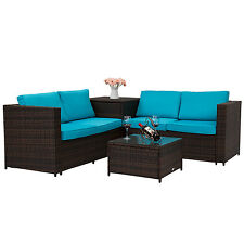 4Pcs Rattan Wicker Patio Lawn Sofa Table Set Outdoor Furniture w/ Blue Cushions