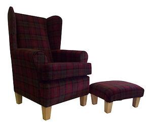 Wing Back Fireside Chair In Burgundy Lana Tartan Fabric