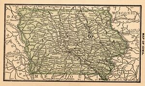 RARE-Antique-IOWA-State-Map-1888-RARE-MINIATURE-Map-of-Iowa-Wall-Art-7923