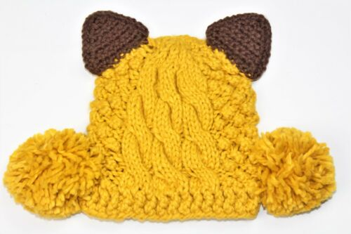 Pom Pom One Size Womens Girls Knitted Crochet Beanie Hats with Ears