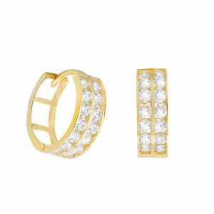 Solid 14K Yellow Gold 5mm Double Row Huggie Hoop Earrings with Cubic Zirconia Gemstones