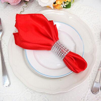 Rhinestone 8 Row Wedding Mesh Bling Napkin Ring Party Sash Holder Silver 1-100pc