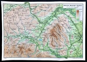 Map Of Wales Uk.1926 Antique Color Map Brecon Beacons District Wales Uk 100