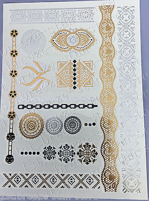 90s Temporary Metallic Tattoo Gold Silver Black Flash Tattoos Inspired