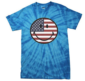 USA-SMILEY-FACE-TIE-DYE-T-SHIRT-BEST-SELLER-ASSORTED-COLORS-SIZES-KIDS-amp-ADULT