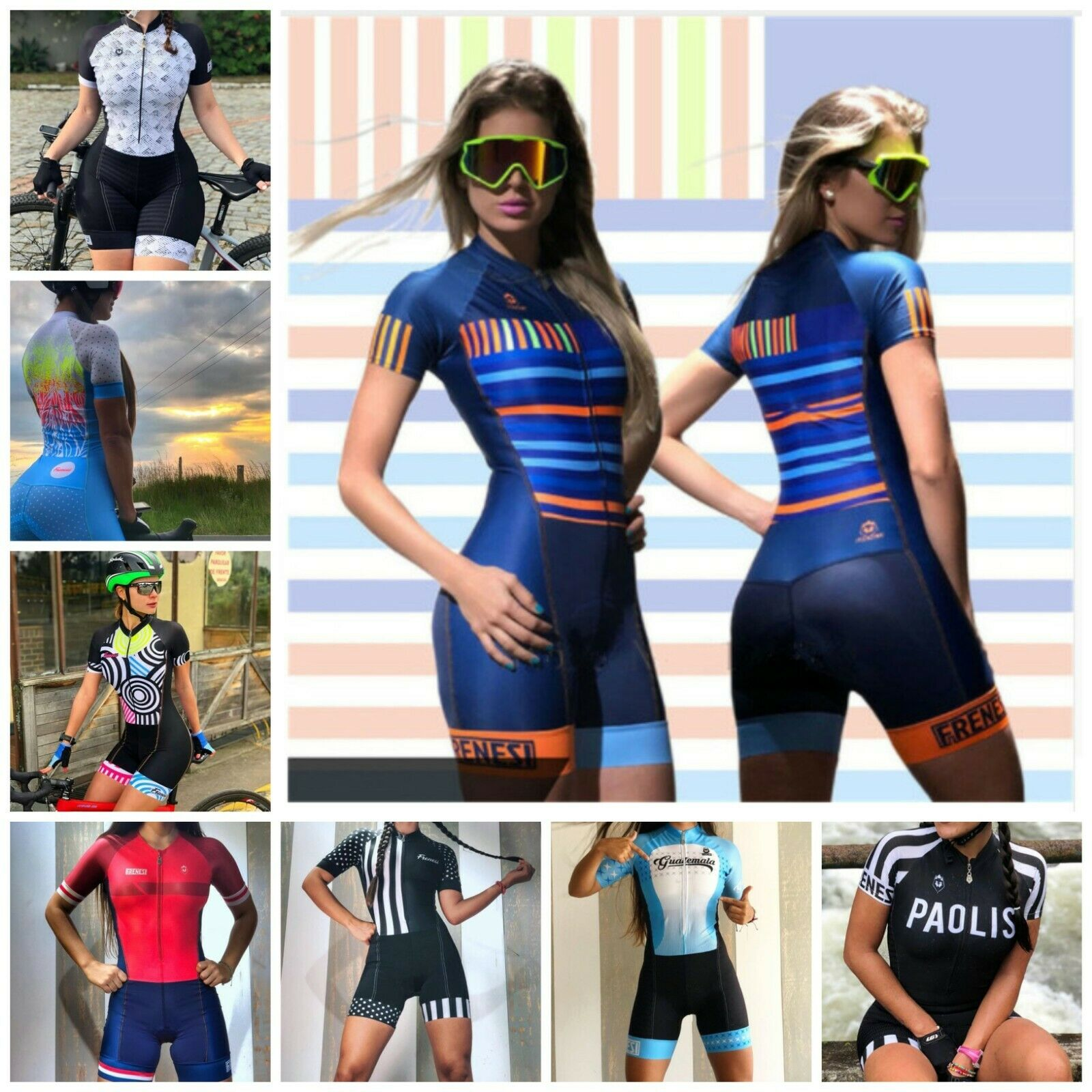 donna Short Sleeve ciclismo Jersey Sets 100% Polyester Breathable Pad Summer Suit