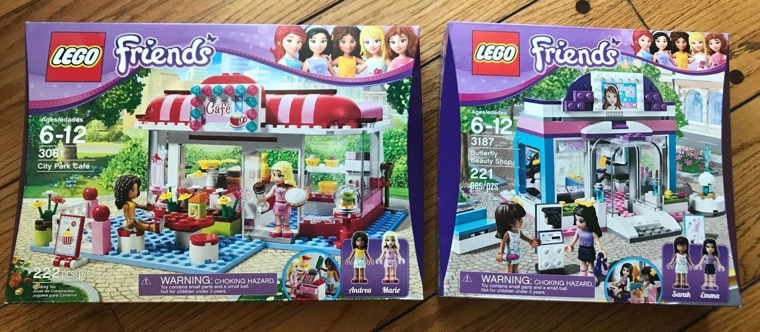 NEW Lego FRIENDS 3061 CITY PARK CAFE and 3187 BUTTERFLY BEAUTY SHOP 2 Sets