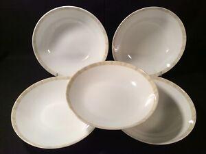 """Lot 5 Mikasa """"Nouveau"""" Beige 8 1/4"""" Coupe Soup Bowls - Very Good"""