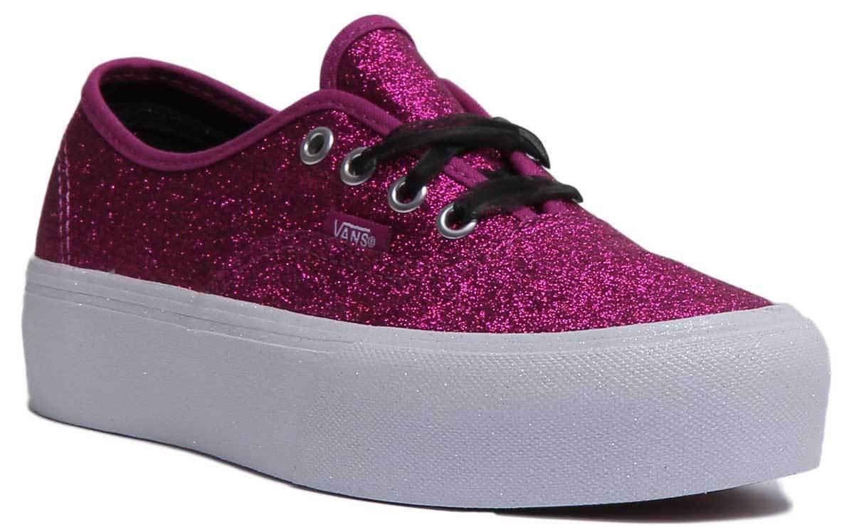 Vans Authentic Womens Canvas Platform Trainers Pink UK Size 3 - 8
