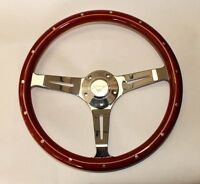 65 66 67 68 69 Mustang Steering Wheel 14 Wood With Running Pony Center Cap
