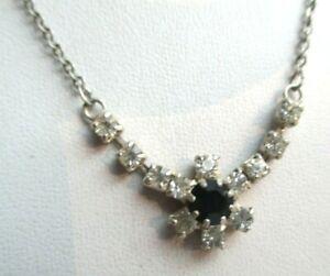 collier argent et diamant noir