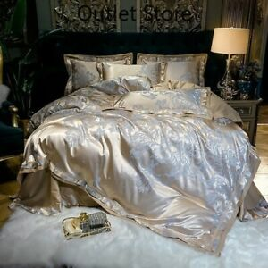 Luxury-Satin-Jacquard-Cotton-Cover-4Pcs-Silky-Bedding-Set-Duvet-Cover-Bed-Sheet