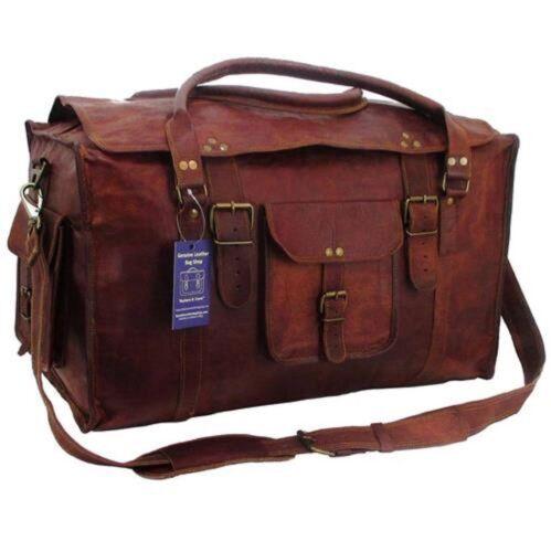 "24/"" Men/'s Genuine Leather Flap Duffel Carry On Weekender Luggage Gym Travel Bag"