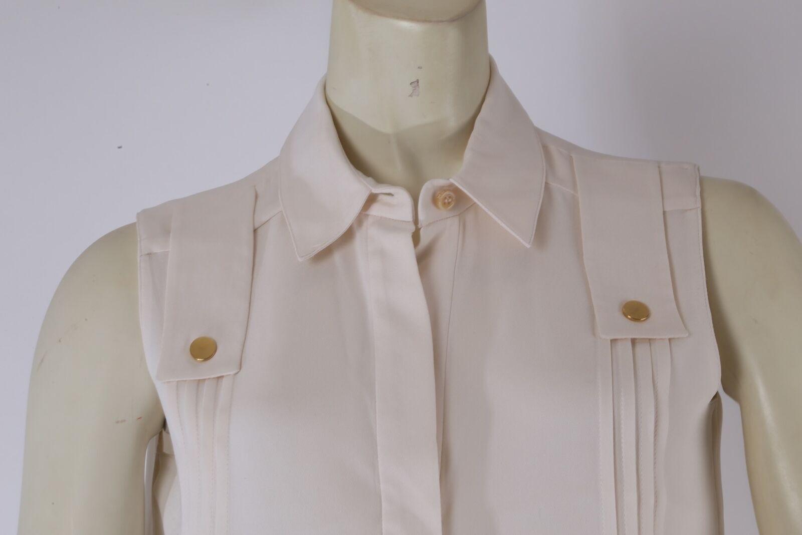DEREK LAM Ivory Sleeveless Collared Silk Pleated … - image 4